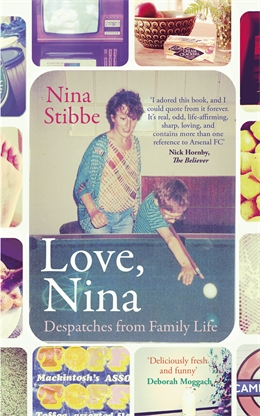 Love, Nina book cover showing Nina and one of her charges playing pool in the 80s