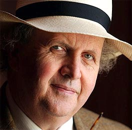 Alexander McCall Smith in a panama hat